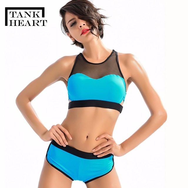 c5847e2f82 Tank Heart Sexy Blue Swimsuit Shorts Tankini Plus Size Swimwear Girls  Bikini Set Two Piece Swimsuit Big Size Bathing Suit Women