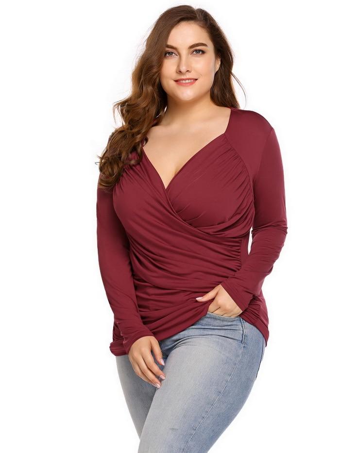 Ang Large Size V-Neck Women T-Shirt, 5XL Women Tshirt