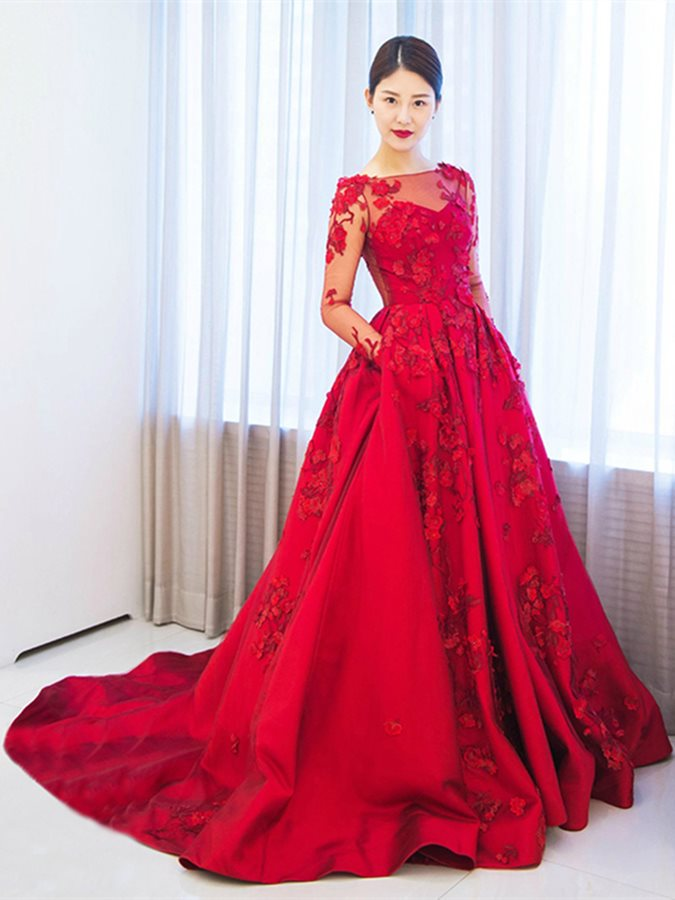 Ensotek A Line Red Flowers Appliques Long Evening Dresses 2019 Muslim Arabic Formal Prom Party Gowns Celebrity Vestido De Festa