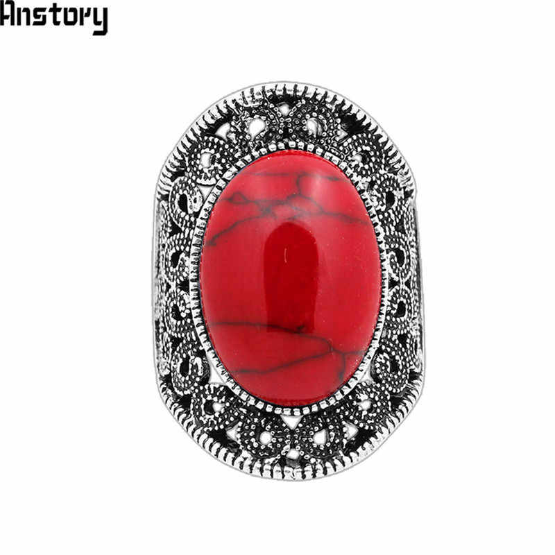 5 Colors Hollow Flower Oval Stone Rings For Women Vintage Antique Silver Plated Fashion Jewelry TR410