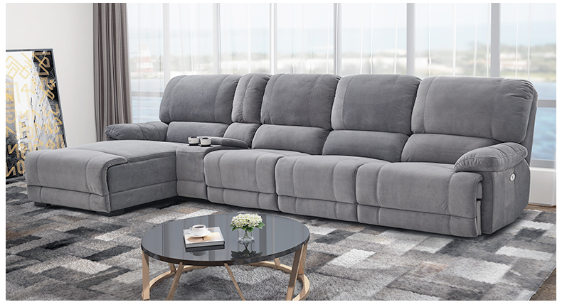 Fabric Sectional Sofa Electric Recliner