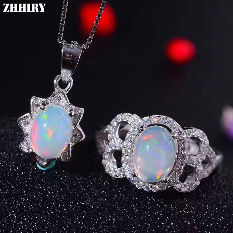 ZHHIRY Natural Fire Opal Jewelry Sets 925 Sterling Silver Ring Necklace Pendant For Women Color Gemstone Fine Jewelry все цены