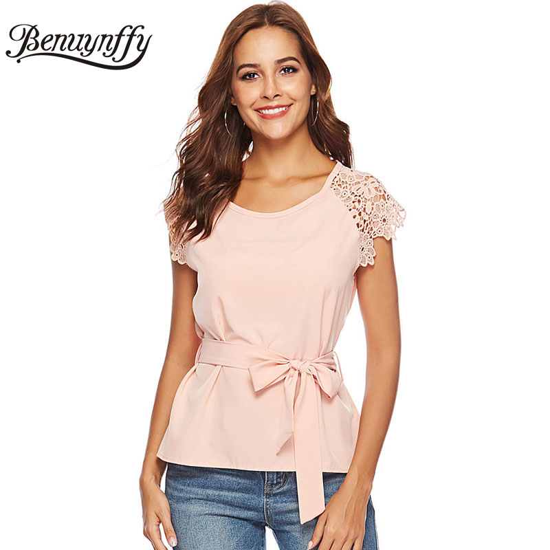 Benuynffy Lace Short Sleeve Solid Chiffon Belted Blouse Shirt Women Tops Summer Ladies Casual Office Wear To Work Elegant Blouse short dresses office wear