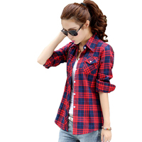 Spring And Autumn Fitted New Cotton Plaid Shirt Female Long Sleeve College Style Korean Slim Was