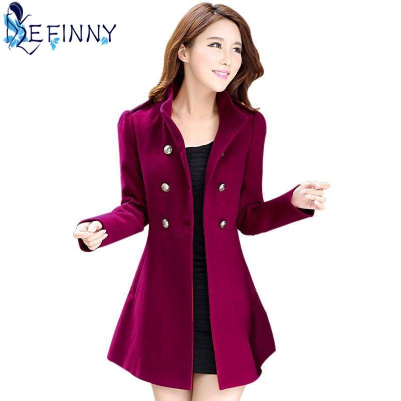2018 New Autumn Winter Female Double Breasted Stand Windbreaker Coat Lady Warm Full Sleeve Outwear Slim Casual Women Overcoat