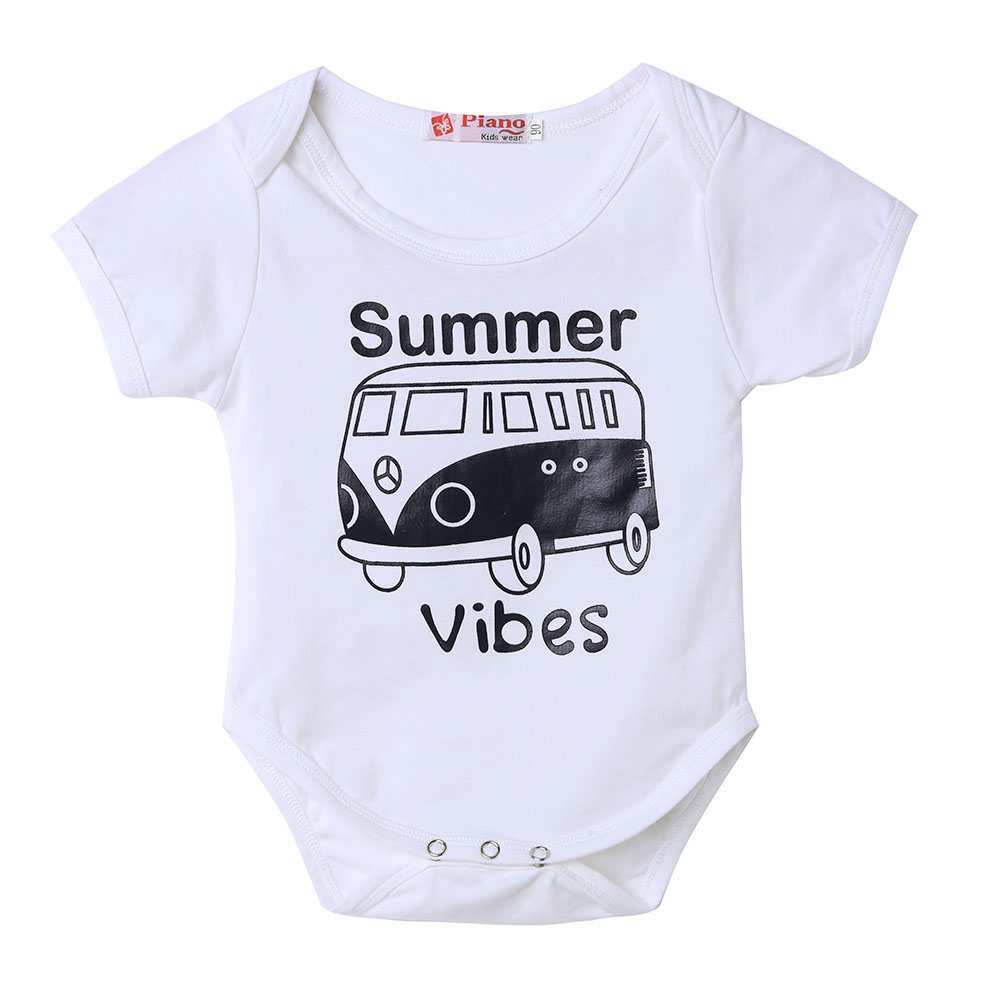 Newborn Baby White   Rompers   Baby Boys Girls Bus Printed Short Sleeve   Romper   Outfits Baby Jumpsuits   Rompers   for Newborn Baby