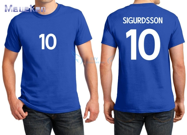 2018 Printed for name just a T-shirt 10 Gylfi Sigurdsson white blue t shirt 1486932a2