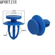 QFHETJIE 1Pcs New blue Plastic Car Fastener Car Styling Bumper Fender Push Type Fascia Retainer Car Door Panel Clips(China)