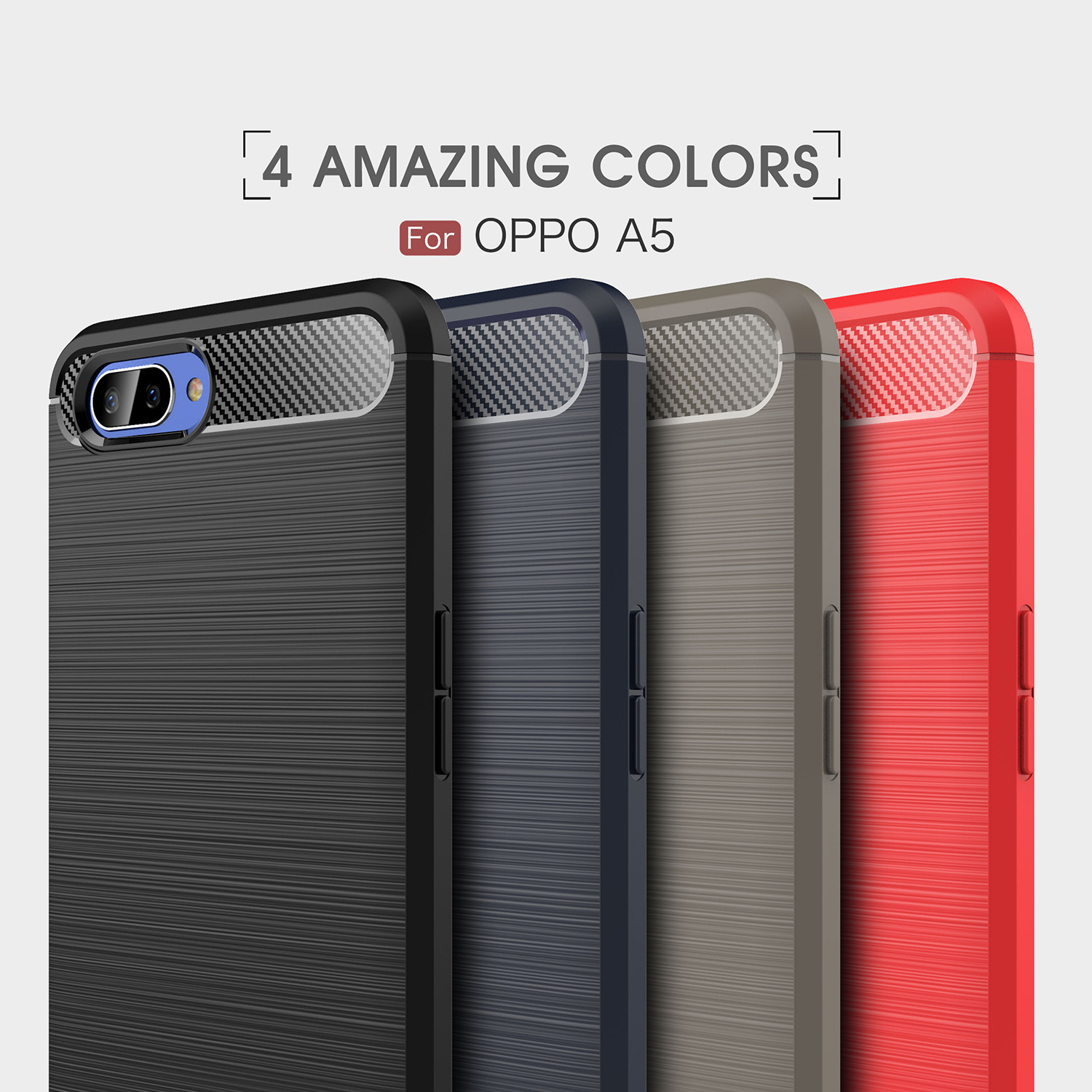 """Wolfsay Carbon Fiber Case Oppo A5 Phone Case Oppo A3S Soft Silicone Cover For Oppo A3s Case Anti Slip Shell For Oppo A3s 6 2"""" in Fitted Cases from"""