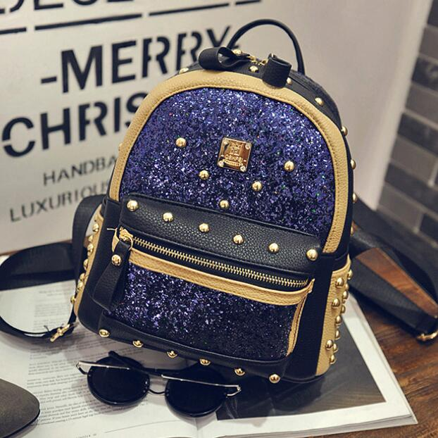 Free shipping New shion Preppy style Wild Leisure Mini Sequins rivet Backpack female