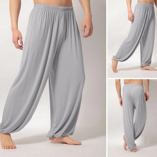 Мужские Супер Мягкие штаны для занятий йогой, штаны для занятий пилатесом, Свободные повседневные шаровары, свободные широкие штаны для отдыха, Мужские штаны XRQ88 - Цвет: Серый