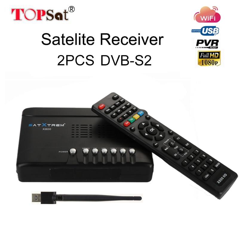 2PCS DVB-S/S2 Receptor Satellite Receiver Full HD 1080P DVB-S/S2 Receptor With USB WiFi 1 Year 5 CLINES CCcam Receiver 10 pcs gtmedia v7 upgrade digital satellite receiver dvb s2 full 1080p v7s hd support cccam cline 1 year receptor wifi usb