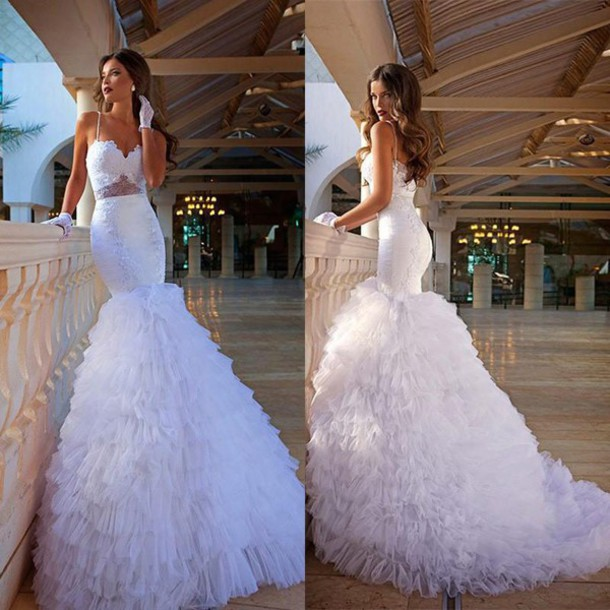 Mermaid Wedding Dresses with Straps and Ruffles