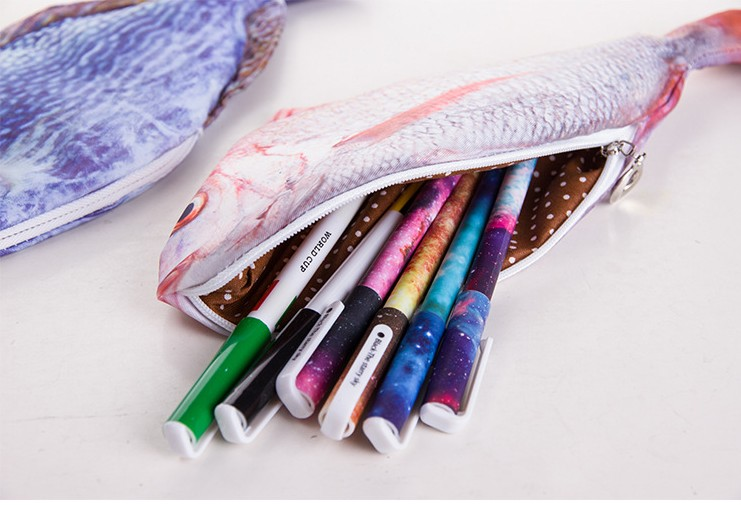 1 Pcs/lot Funny Fish Like Zipper Canvas Pen Pencil Case Waterproof Creative  Weird Pencil Case/Bag School Supplies Free Shipping  In Pencil Cases From  Office ...