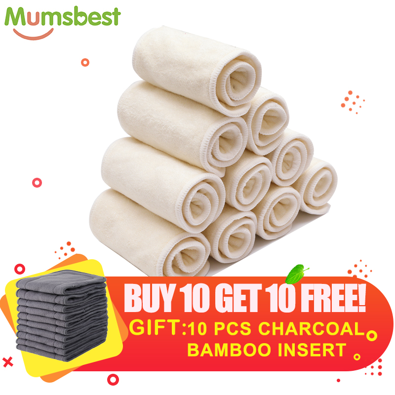 [Mumsbest]BUY10GET10 FREE Bamboo Inserts Reusable Nappies Super Absorbency  Gray Charcoal Bamboo Insert Soft Nappies Liner