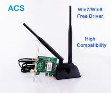 Super haute Signal 802.11b / g / n PCI Express sans fil WiFi carte adaptateur avec 2 antennes pour pc de bureau wi – fi récepteur carte réseau