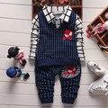 Nueva Primavera Otoño Bebé Fijado Ropa Chaleco Tie Plaid Blusa + Pant Niños Spiderman Muchachos Fijados Ropa de Los Niños Gentleman