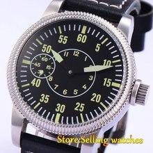Corgeut 46mm cadran noir Lumineux double cadran 17 bijoux 6497 main-vent hommes de montre