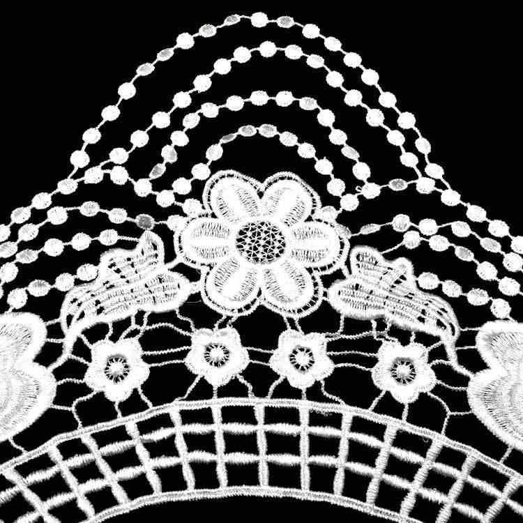 Lujo blanco negro 3d bordado apliques encaje vestido cuello Floral guipur encaje y adornos para coser adornos Decoración