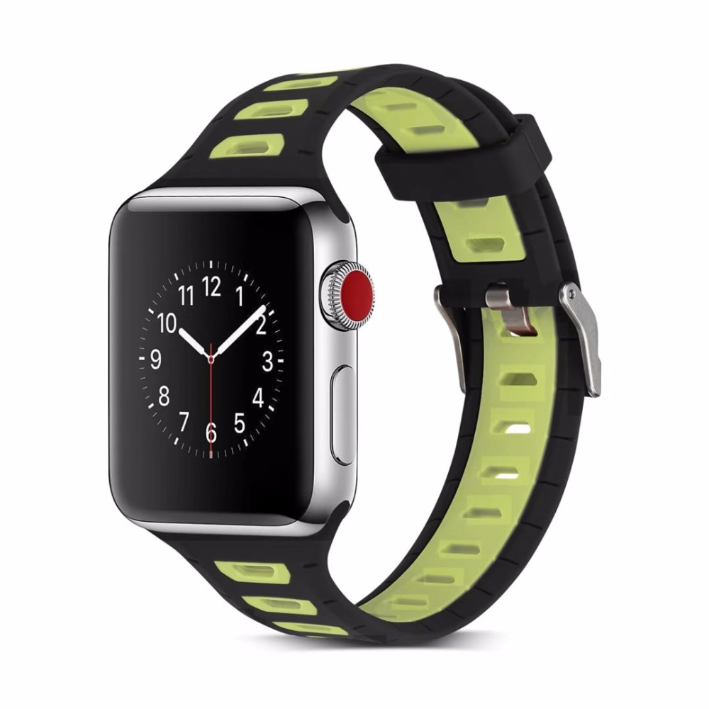 Brand sport Silicone band strap for apple watch nike 42mm 38mm bracelet wrist band watch watchband For iwatch apple strap 3/2/1 crested sport band for apple watch 3 42mm 38mm strap for iwatch nike 3 2 1 wrist band bracelet silicone strap