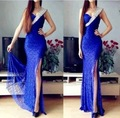 Real Laço Azul Sexy High Side Dividir Sereia Vestidos de Noite longo 2017 Moda de Um Ombro Frisado do Baile de finalistas Vestidos Vestido De Festa