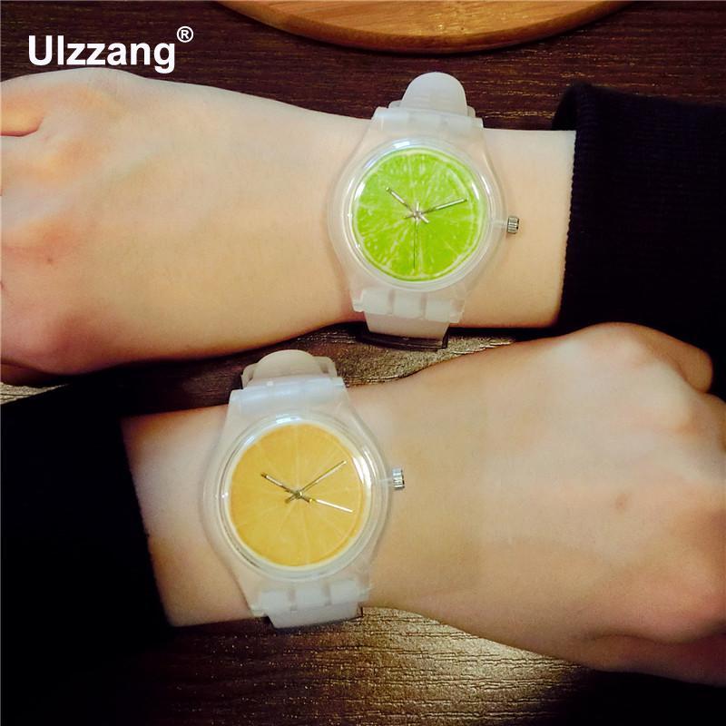 New Fashion Clear Cute Fruit Orange Rubber Quartz Wristwatch Watch for Women Ladies Girls