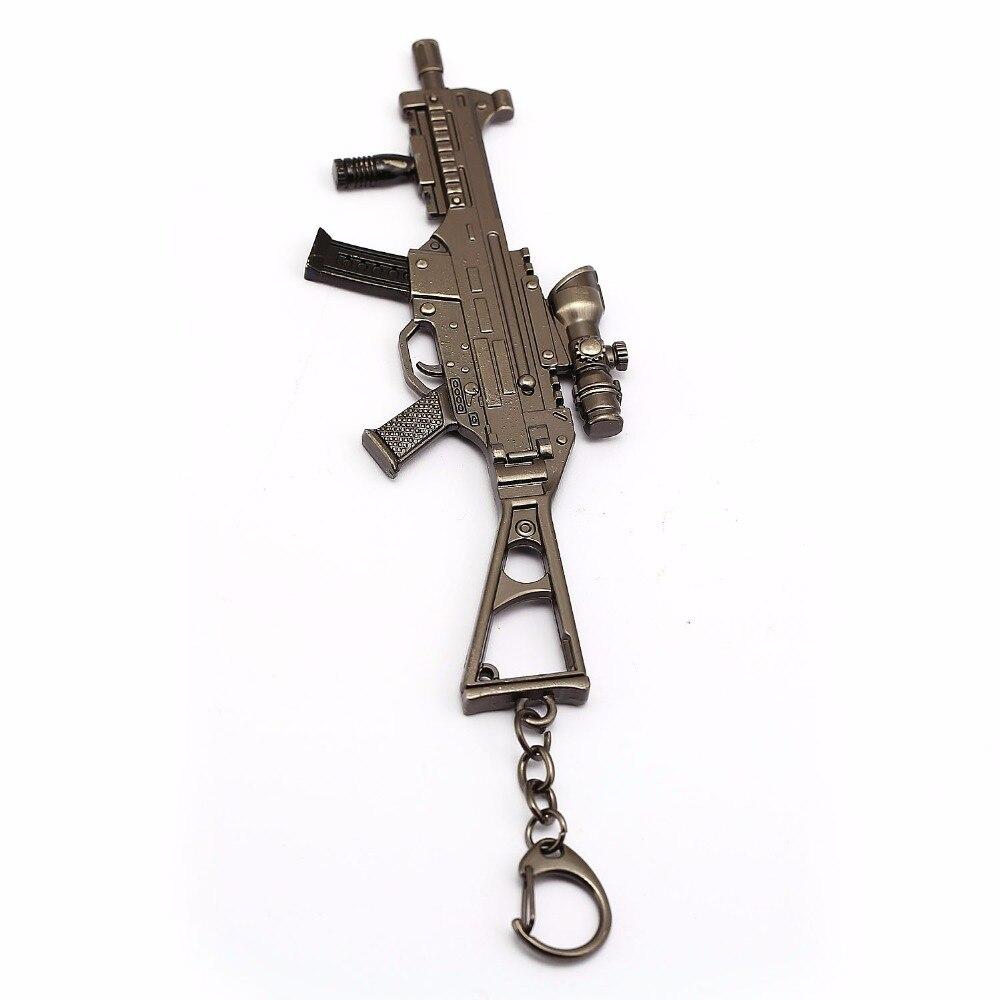 PUBG Cartoon game gun model keychain pendant jewelry for men's car personality vintage retro weapon key chain accessory
