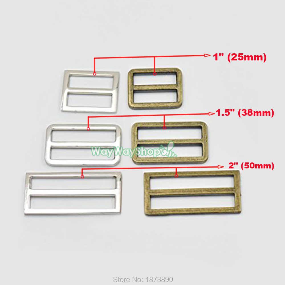 """20 peças ajustador triglides slides 2 """"(50mm) 1.5"""" (38mm) 1 """"(25mm) para fivelas de correia de couro"""
