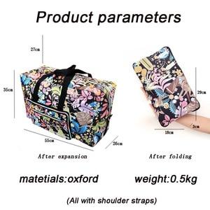 Image 3 - Sac de voyage pliable femmes grande capacité Portable sac à bandoulière dessin animé impression étanche week end bagages fourre tout en gros