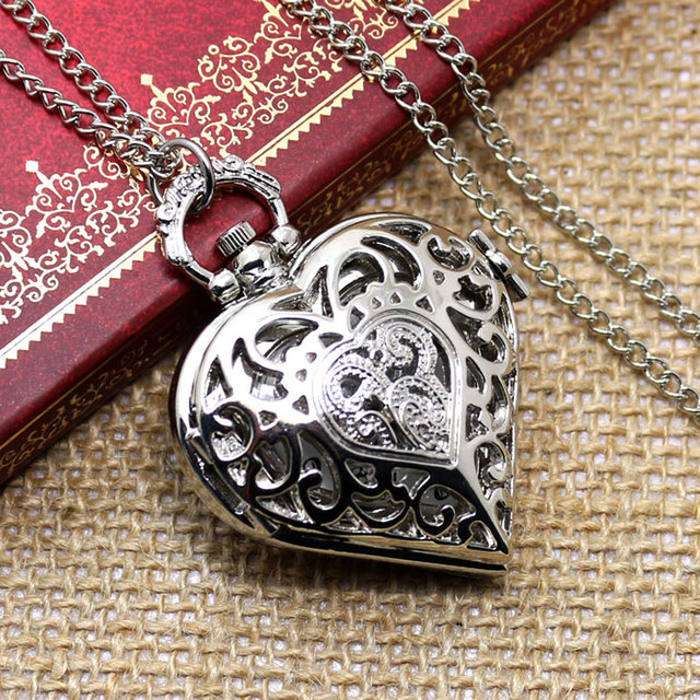 Fashion Silver Heart Shape Fob Quartz Pendant Pocket Watch With Necklace Chain F