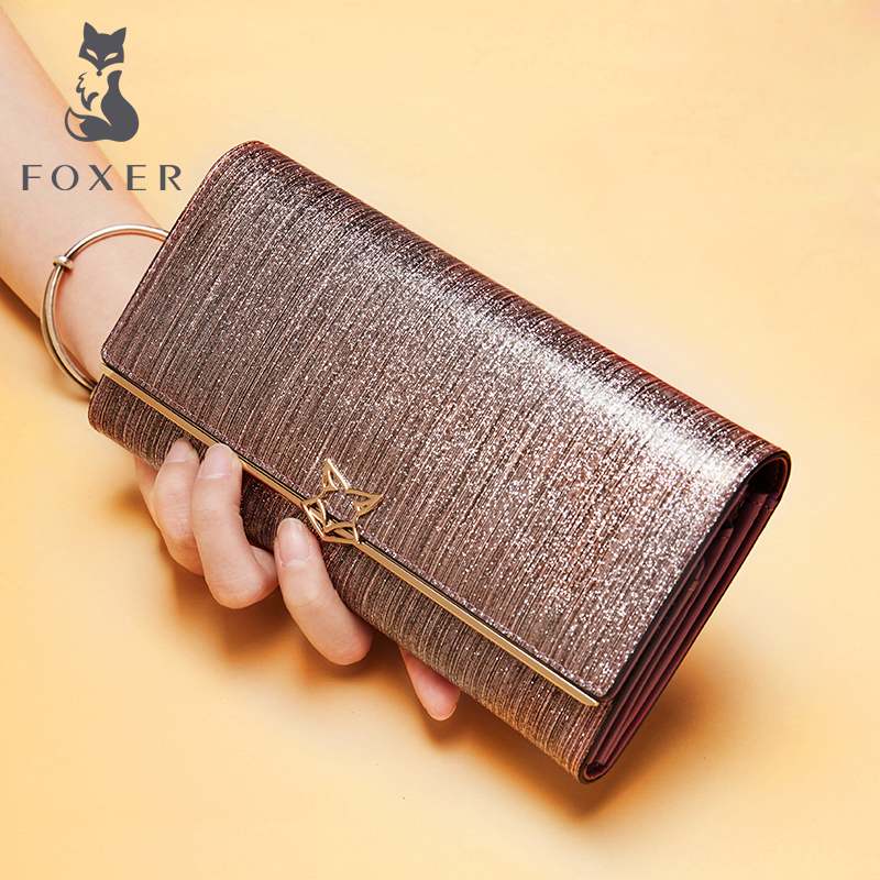FOXER Women Fashion Leather Long Wallet Female Clutch Cellphone Bag Card Holder Lady Luxury Coin Purse Wallets for Woman
