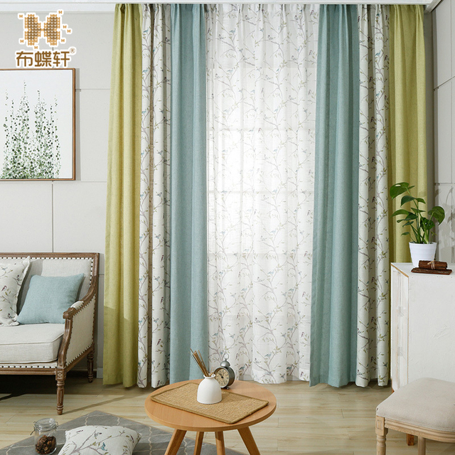 Aliexpress.com : Buy Pastoral Style White Flowers and Birds Prints Blinds  Mustard Green Blue Stitching Curtains for Bedroom Study Room from Reliable  ...