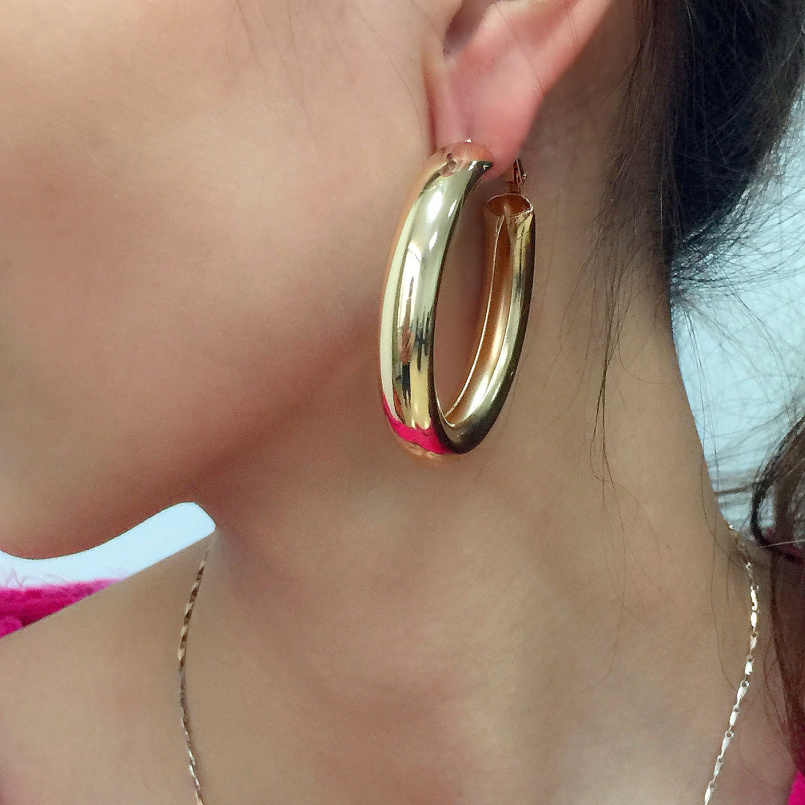 Women Jewelry Hiphop  50mm Hoop Earrings Thick Tube Round Circle Big Gold Alloy