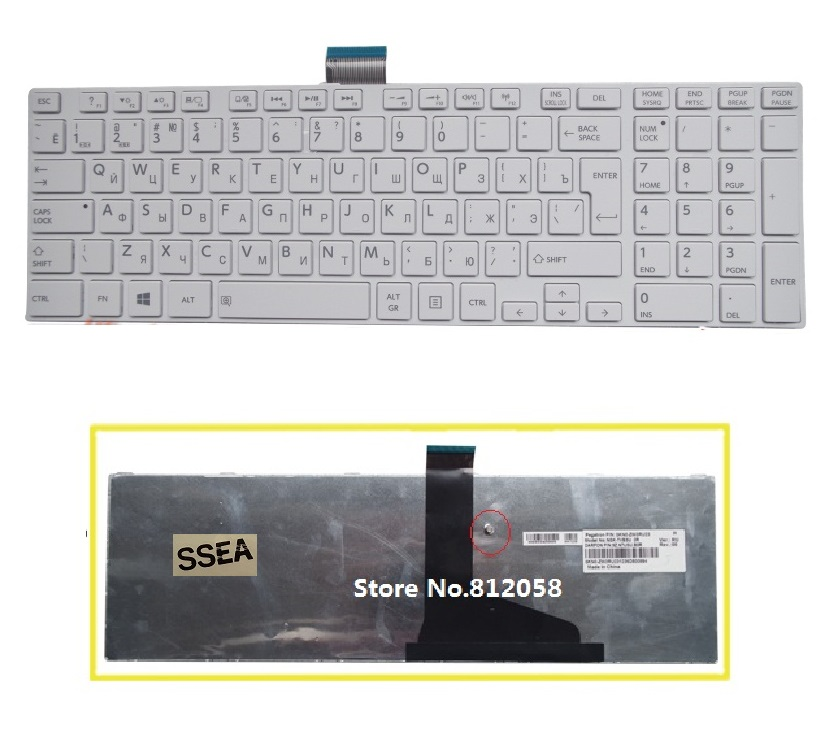SSEA New RU Keyboard for Toshiba satellite C850 C855 C870 C875 L875 L850 L850D L855 L950 L955 Russian Keyboard white image