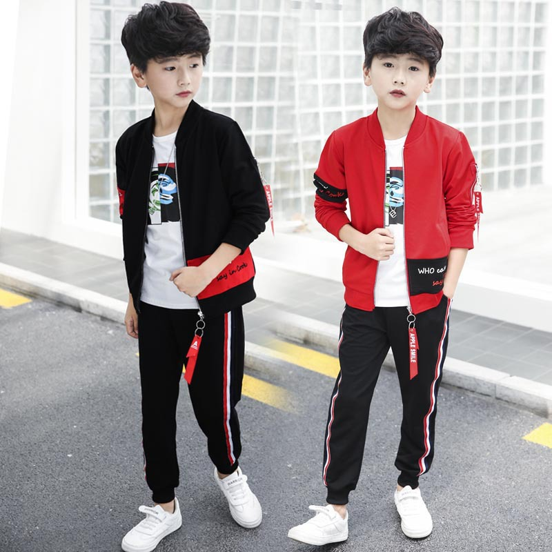 Children's suit 2019 spring and autumn new fashion letter zipper sweater + pants two-piece long-sleeved cotton boy clothes