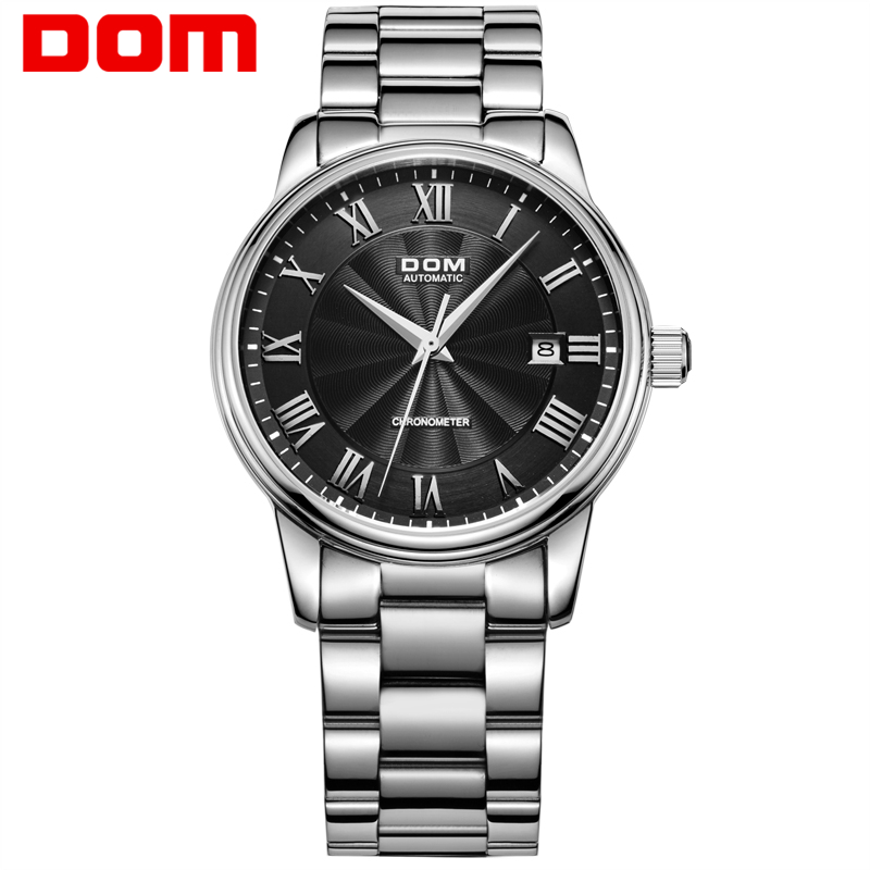 Men Watch DOM Mechanical Stainless Steel Top Brand Luxury Waterproof Watches Sapphire Crystal Automatic Date Clock M8040D1M2 men luxury automatic mechanical watch fashion calendar waterproof watches men top brand stainless steel wristwatches clock gift