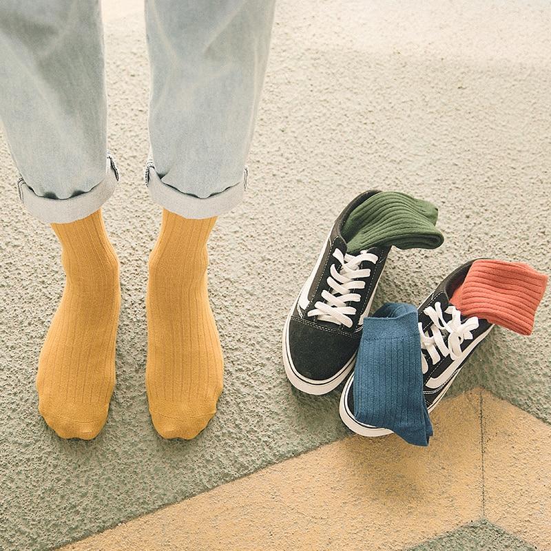 CHAOZHU Men's   Socks   Autumn Spring 95% Cotton Rib Solid Colors Japanese Basic Vintage Fashion Multi-Colors Daily   Socks   Men Boys