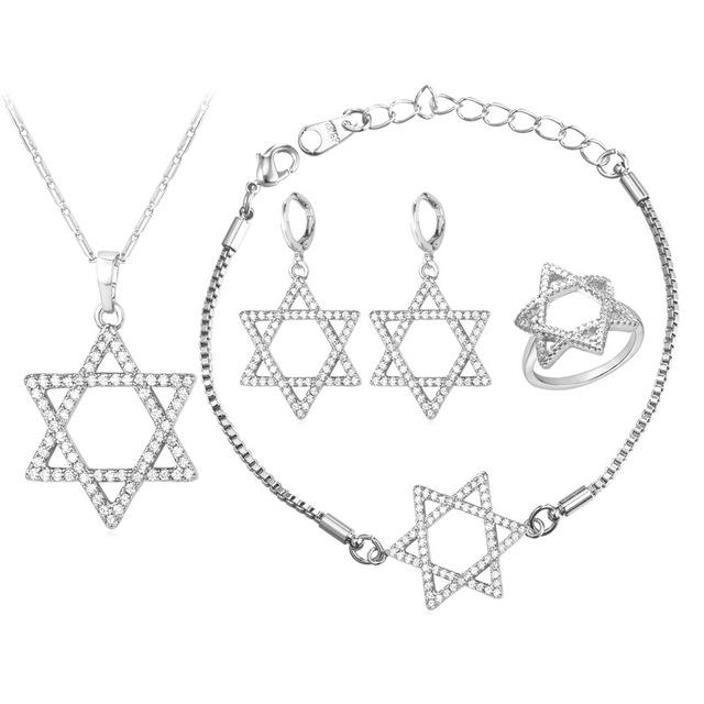 U7 magen david estrela conjuntos de jóias para as mulheres casamento nupcial banhado a ouro amarelo cúbicos de zircônia jóias judaica israel s237