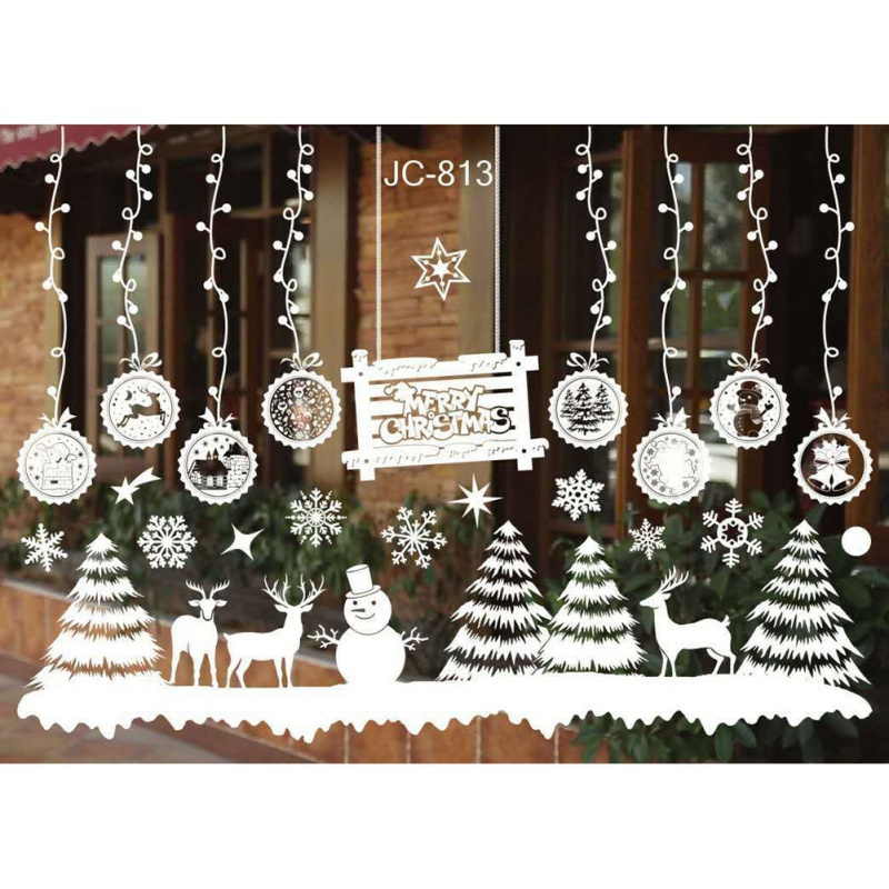 Christmas Wall Stickers Christmas Tree Snowman Elk Antelope Santa Claus Shop Window Glass Background Stickers Decor 55*38cm New ...