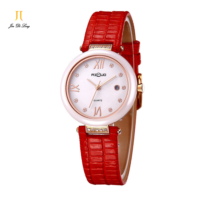Brand Luxury Fashion Casual Dress Watch Women Quartz Watch Pearl Ceramic Clock Ladies Diamond Genuine Leather