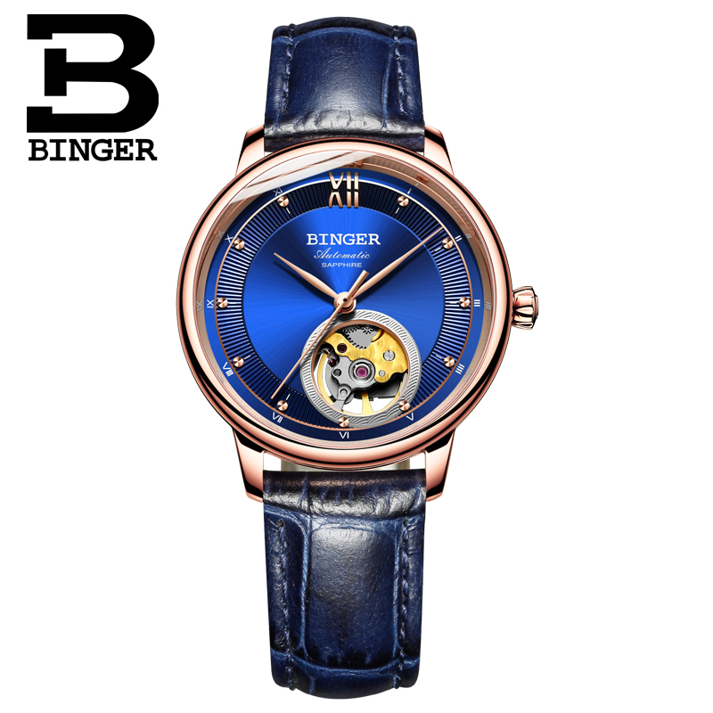 Switzerland BINGER Women 39 s watches Ultra thin Japan 90S5 Automatic Movemt Tourbillon sapphire Mechanical Wristwatches B 1180W 2 in Women 39 s Watches from Watches