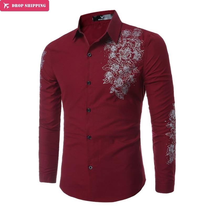 Camisa casual de los hombres de la camisa de la marca DropShipping nueva camisa impresa de alta calidad casual de manga larga