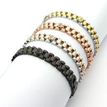 Fashion Speedometer Pulsera Life Style Brazalete Titanio Gun Black CrownStainless steel Cuff Chain Link Bracelet Bangles For Men