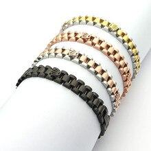 Pulsera de acero inoxidable con velocímetro para hombre, Brazalete con cadena, color negro
