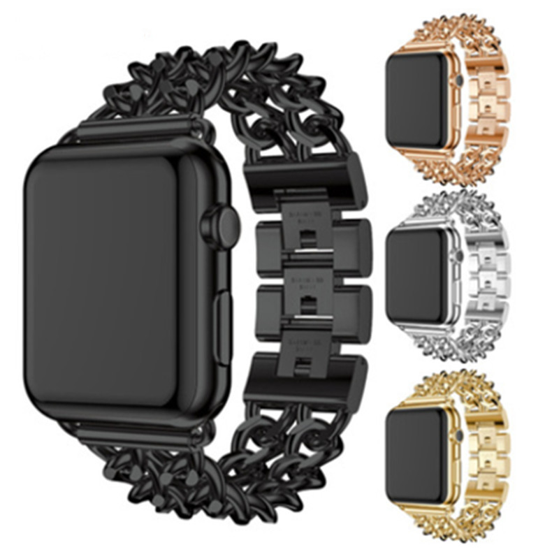 Applicable To for Apple Watch38/42MM Watch Strap Denim Chain With for Iwatch Alloy Stainless Steel Strap