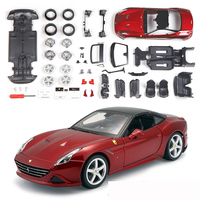 1:24 DIY Assembly Cars Model Red Color California T Alloy Car Static Model Super Car Collection Model Color Box Package Toys