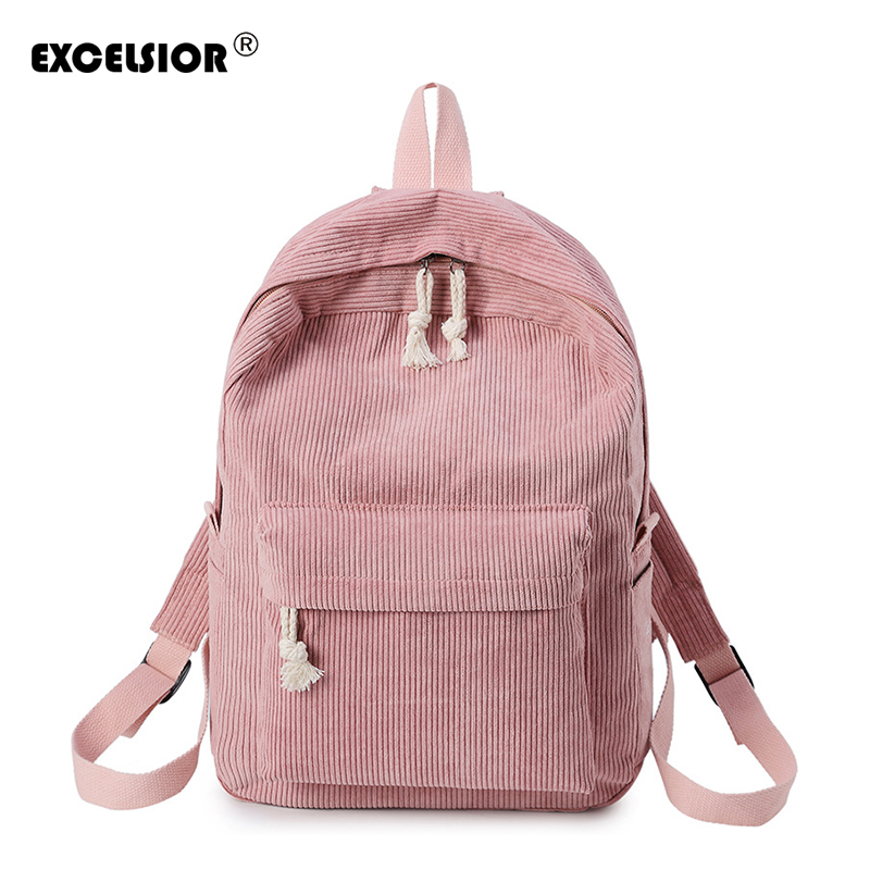 EXCELSIOR 2018 New Fashion Candy color Canvas Women Backpack High School Student Personalized Corduroy School Bags G1706 corduroy goes to school