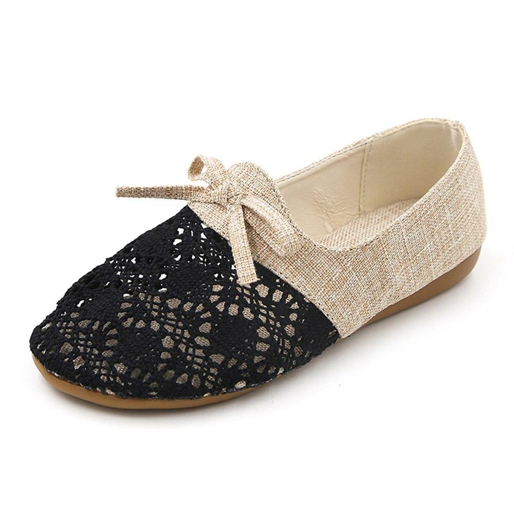 1ec72301fa3e8 Chaussures Peu Profonde Bouche Printemps Confortable Tête black Respirant  Plat Mou 2018 Occasionnels Creux Mode Fond Femme ...