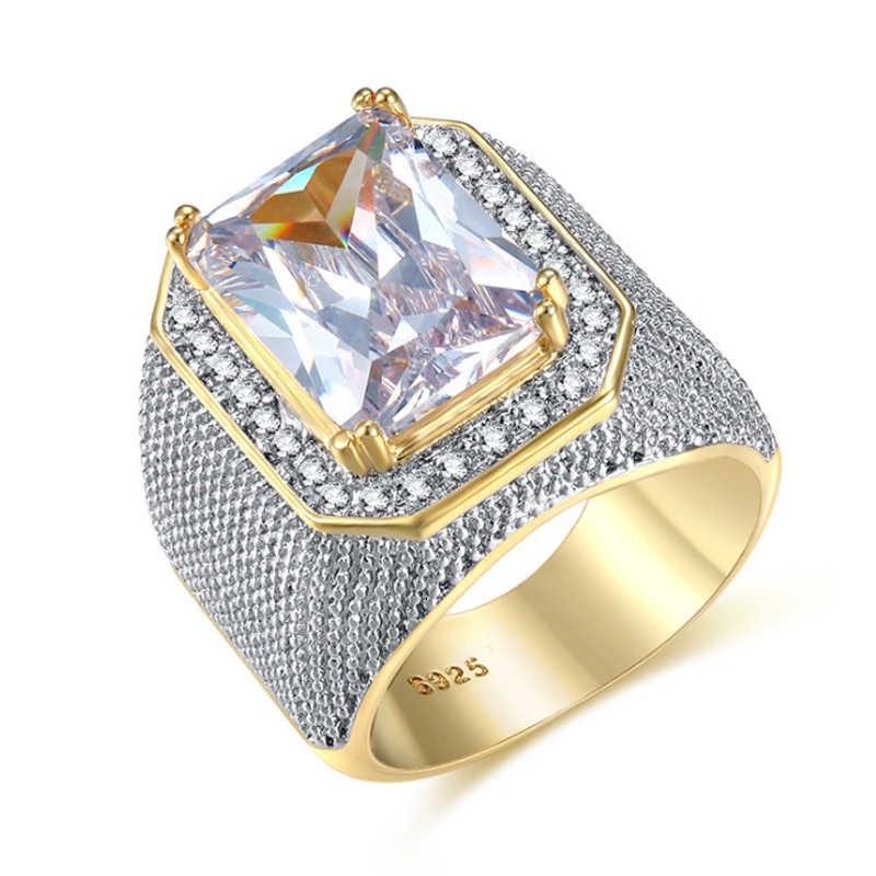 Hip hop Big Stone แหวนผู้ชายคุณภาพสูงสีม่วงสีชมพูสีขาวสีเหลือง CZ แหวนขนาด 8-12 Punk เครื่องประดับ Bague homme Anel
