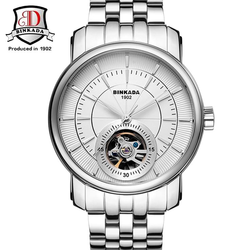 2017 Watch Top Brand BINKADA Men's Watch Automatic Mechanical Skeleton Full Steel Band Wristwatch Male Clocks relogio masculino